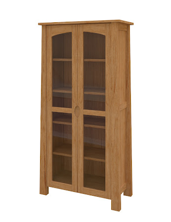 Luxor Glass Door Bookshelf in Calhoun Maple
