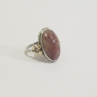 Sterling Silver, 10K Gold, and Stone Ring