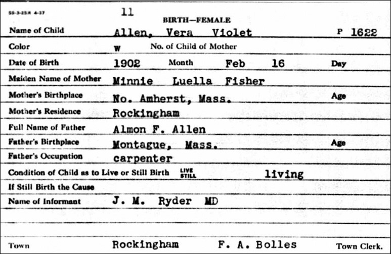 ALLEN_Vera Violet_birth record_16 Feb 1902_RockinghamVermont