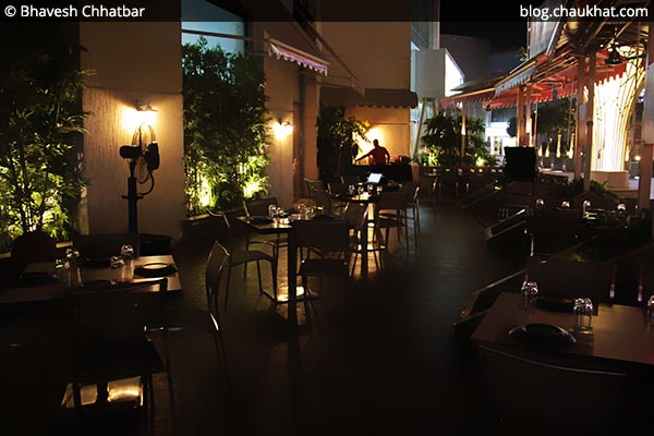 Outdoor seating area of Shizusan (The Asian Bistro) in Phoenix Market City at Viman Nagar area of Pune