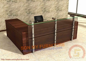 Quầy bar gỗ MDF veneer, kính 23