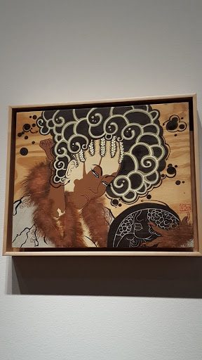 """Untitled (after Kikugawa Eizan's """"Furyu nana komachi"""" [The Modern Seven Komashi]). Iona Rozeal Brown, 2007, acrylic and paper on wooden panel. From Love, Change, and the Expression of Thought: 30 Americans at the Detroit Institute of Arts"""