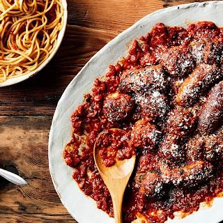 Sunday Sauce with Braciole, Meatballs, and Sausage Recipe   Epicurious.Com Recipe