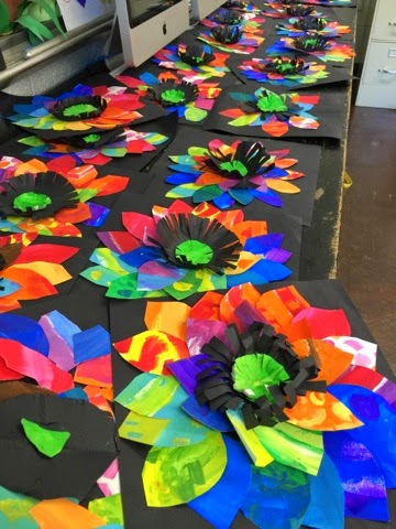 Color it like you mean it painted paper flowers 2nd grade for Painted paper flowers