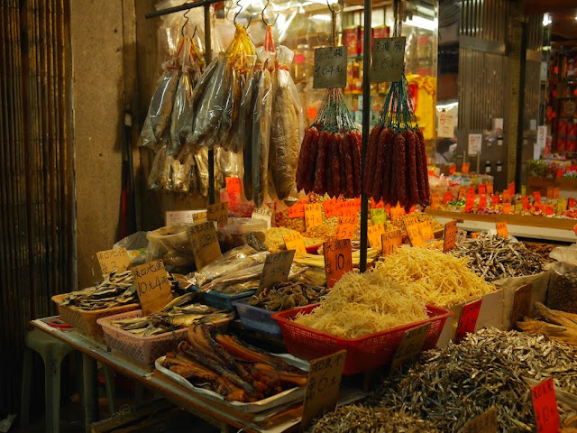 dried meats for sale in Macau's Three Lamps District