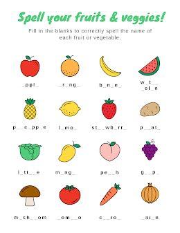 Fruit & Veggie Spelling - COVID-19 item