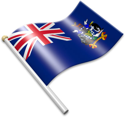 The South Georgia or  South Sandwich Islands flag on a flagpole clipart image