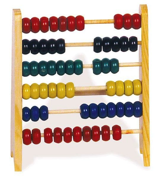 Simple abacus with coloured beads