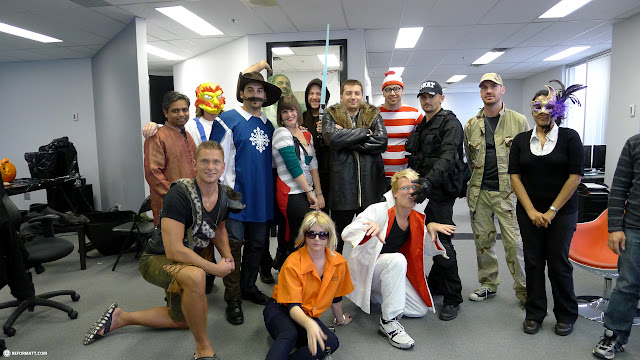 group shot during halloween at climax media in Etobicoke, Ontario, Canada