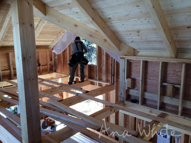 Diy loft floor wood ceiling for our alaska lake cabin for Lake cabin floor plans with loft