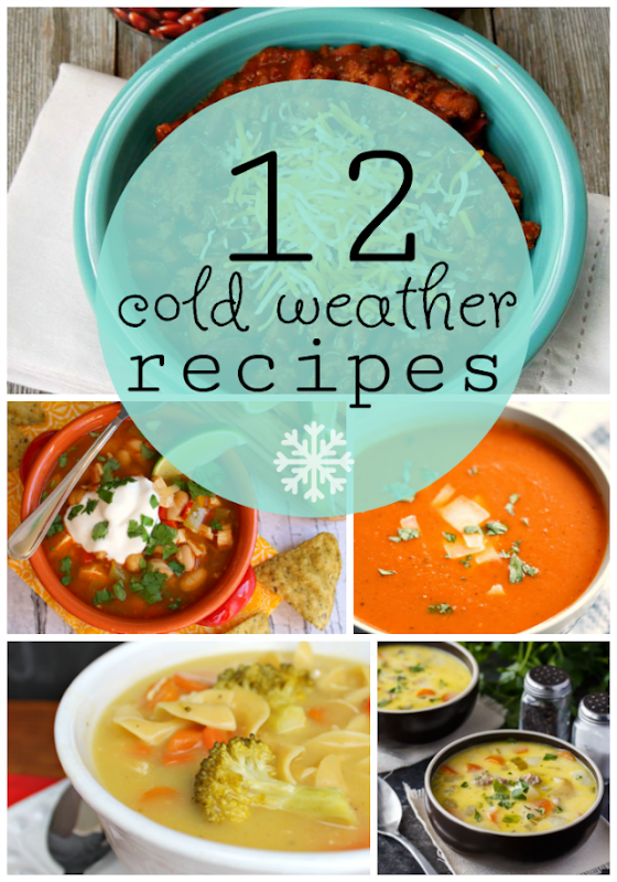12 Cold Weather Recipes at GingerSnapCrafts.com #recipes #soups #chili #chowder
