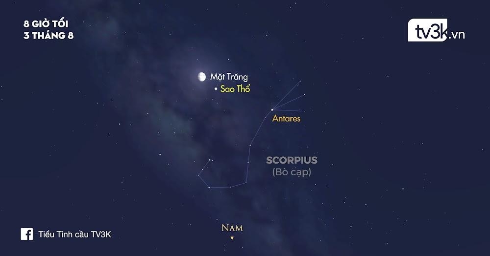 Bầu trời đêm nay - 03/08/2017: Quan sát Mặt Trăng giao hội cùng Sao Thổ.