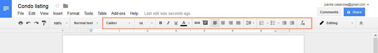 The Google Documents Toolbar