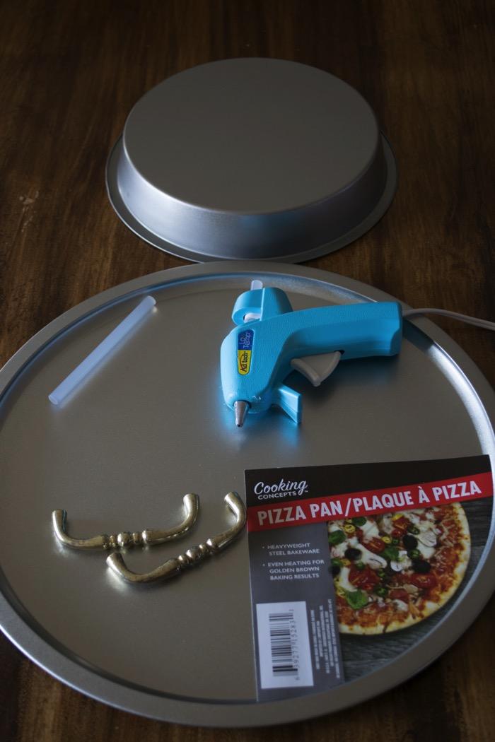 Pizza pan, cake pan, and handles make a fun serving dish!