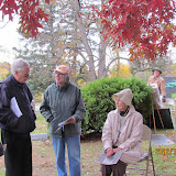 Docent Betty Bradbury (foreground)during Pine Lake Cemetery tour, 2012