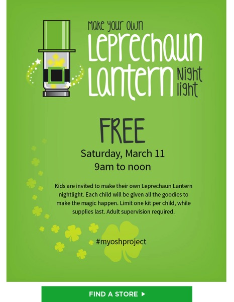 Make Your Own Leprechaun Night Light at OSH - March 11, 2017