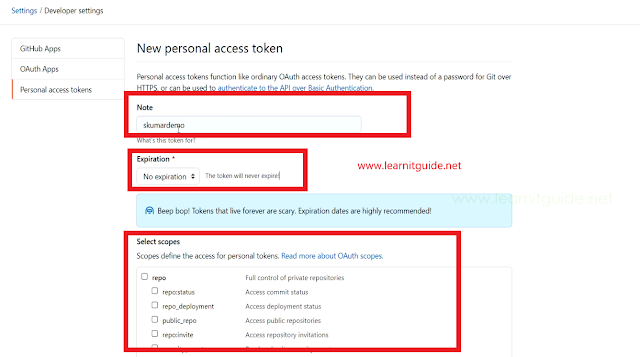 github new personal access token expiration scopes