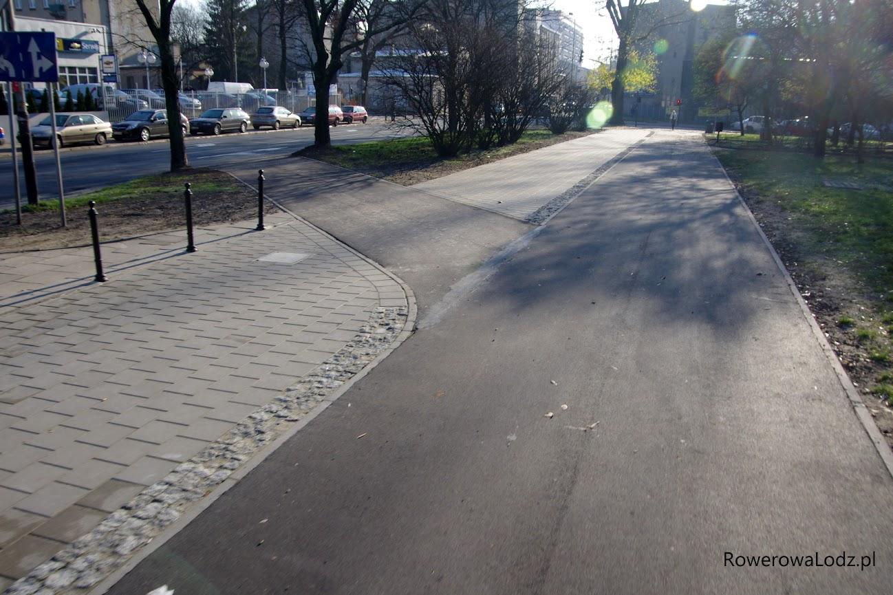 Zjazd z DDR na jezdnię ul. Żeligowskiego dla jadących na południe