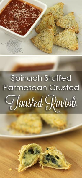 Spinach Stuffed Parmesean Crusted Oven Baked Toasted Ravioli