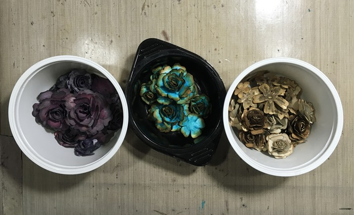 42 Three Tubs of Flowers