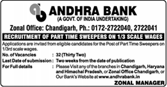 Andhra Bank Chandigarh Jobs 2017 www.indgovtjobs.in