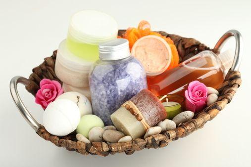 produtos de beleza do spa caseiro, sais de banho