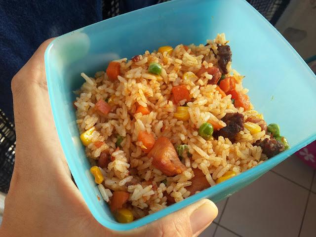 Sarapan Pagi Yang Ringkas Dari Rumah |Nasi Goreng Satay Ayam Daging Bersama Mixed Veggie