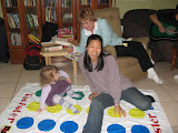 Sarah playing Twister with Mollie