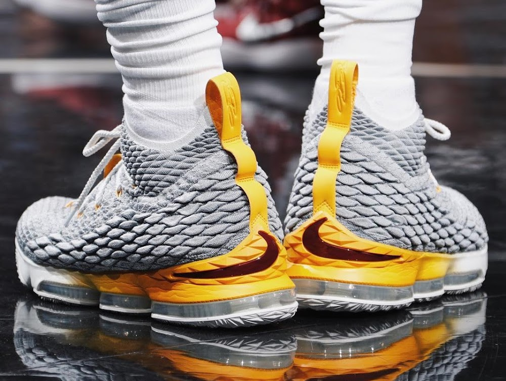 b792aeafdc2 King James Breaks Outs Nike LeBron 15 Grey Yellow PE ...