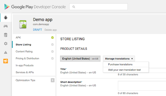App translation service in google play developer console localization help - Google developper console ...