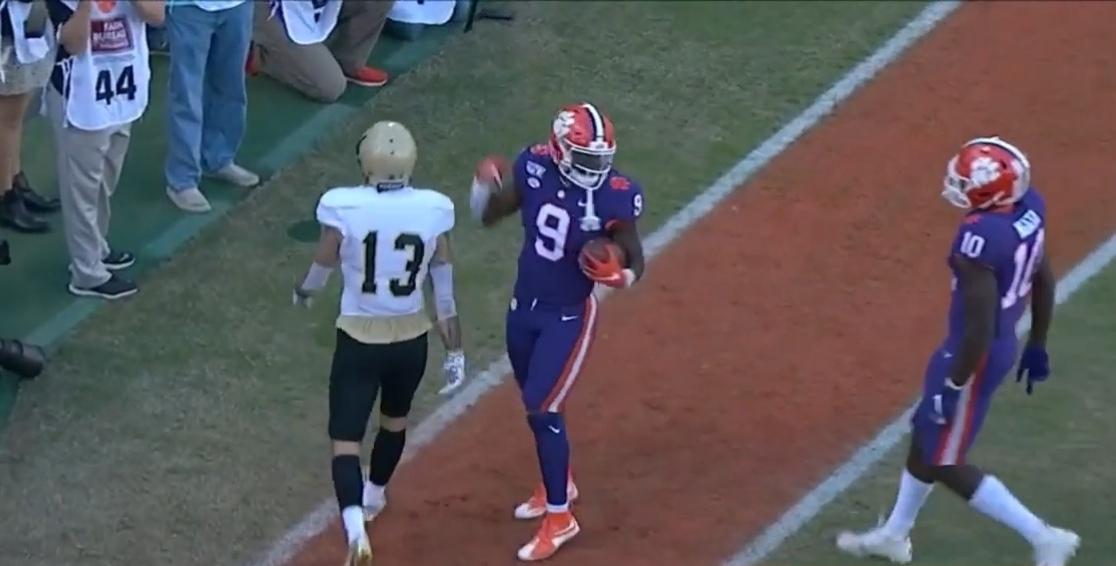 Travis Etienne dancing after a touchdown