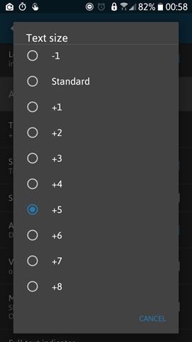 Handy News Reader ver. 0.7.20 - Font Size Range