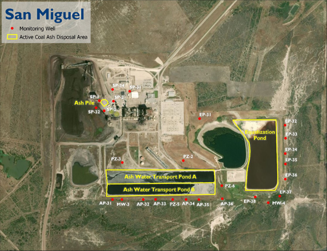 Aerial view of the San Miguel Electric Plant south of San Antonio, the most contaminated coal ash site in Texas. The site is owned and operated by the San Miguel Electric Cooperative, Inc. Photo: Environmental Integrity Project