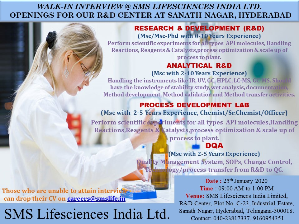 SMS Life Science india Ltd - Walk in interview on 25th Jan 2020