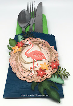 Linda Vich Creates: Mini Treat Bag Cutlery Holders. Botanical Builder and Mini Treat Bag Thinlits team up with the flamingo from Pop of Paradise to create these darling cutlery holders