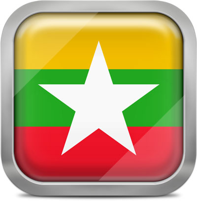 Myanmar (Burma) square flag with metallic frame