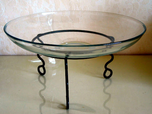 """$15 crystal platter 13"""" stand $5"""