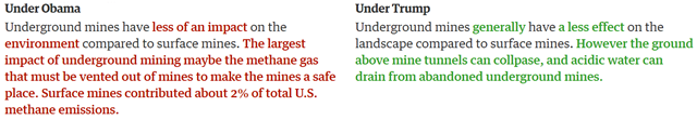 Comparison of text on the EIA Kids website's page on Coal, under President Obama (left) and after Trump's censorship (right). Graphic: The Guardian