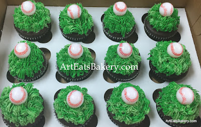 Men's Specialty cupcakes with green butter cream grass and baseballs (the baseballs are not edible)