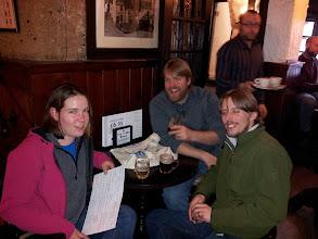 Photo: Siobhan, Tim and Owen DeFrancesco sample the cask ales atYe Olde Trip to Jerusalem