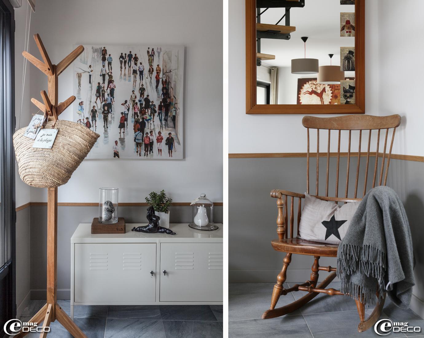 Meuble en métal laqué de style indus' 'Ikea', reproduction de Cathy Doutreligne et porte-manteau en bois achetés chez 'Fly', coussin étoilé 'AM.PM.' et plaid 'Cecchi e Cecchi'