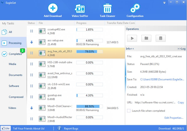 برنامج التحميل EagleGet 2.0.4.17 البديل المجانى لداونلود مانجر