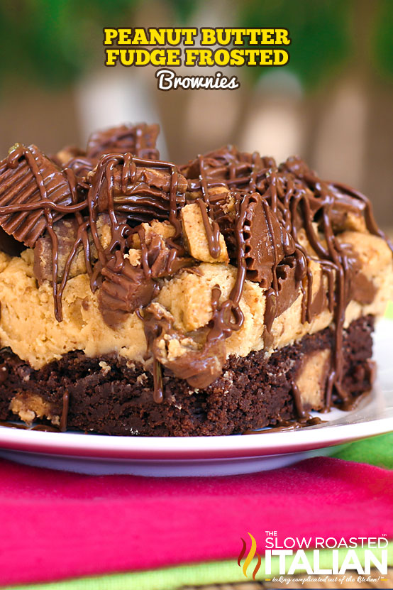 Title Text (pictured on a white plate): Peanut Butter Fudge Frosted Brownies