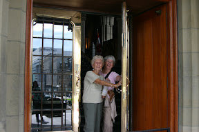 Mom and Auntie Joe leaving Parliament