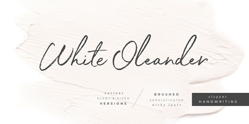 Download White Oleander Fonts by Nicky Laatz