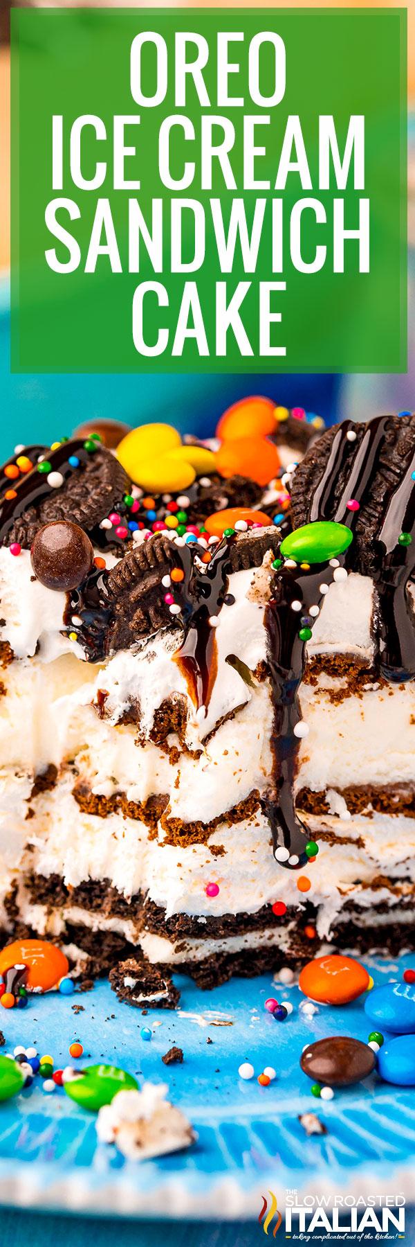 Oreo Ice Cream Sandwich Cake closeup