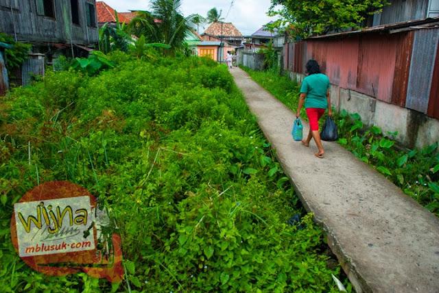 Jalan layang di atas rawa-rawa yang ada di pemukiman warga yang tinggal di Tepi Sungai Musi Palembang Sumatera Selatan