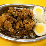 delicious Japanese karaage chicken curry on rice at the Little Tokyo district in Toronto in Toronto, Ontario, Canada