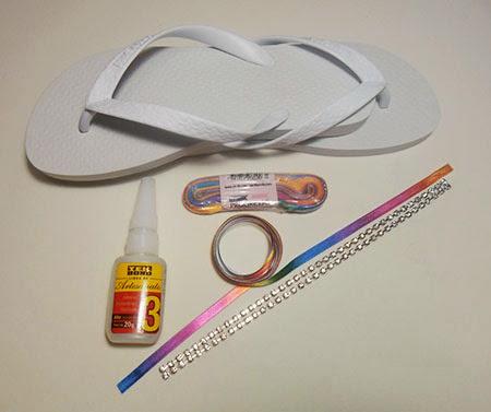 materiais para decoração de chinelo