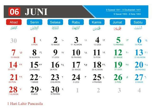 Kalender Bulan Juni 2020 dan Hari Peringatan-nya